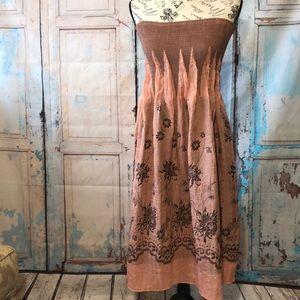 Lapis Strapless Boho Dress